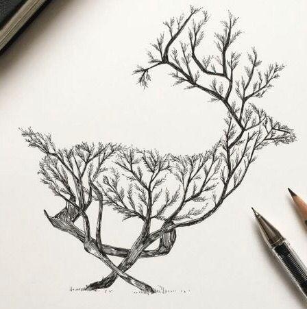 deer pen drawings simple pencil drawings tumblr art drawings tattoo sketches cool