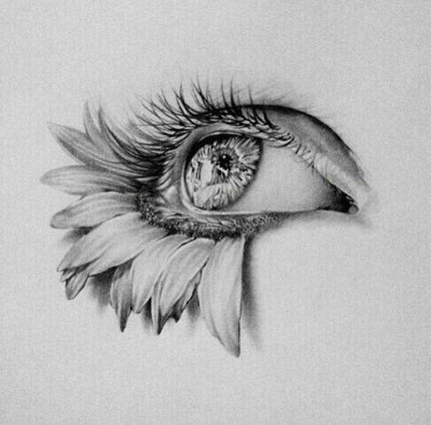 art eye flowers drawing sketch