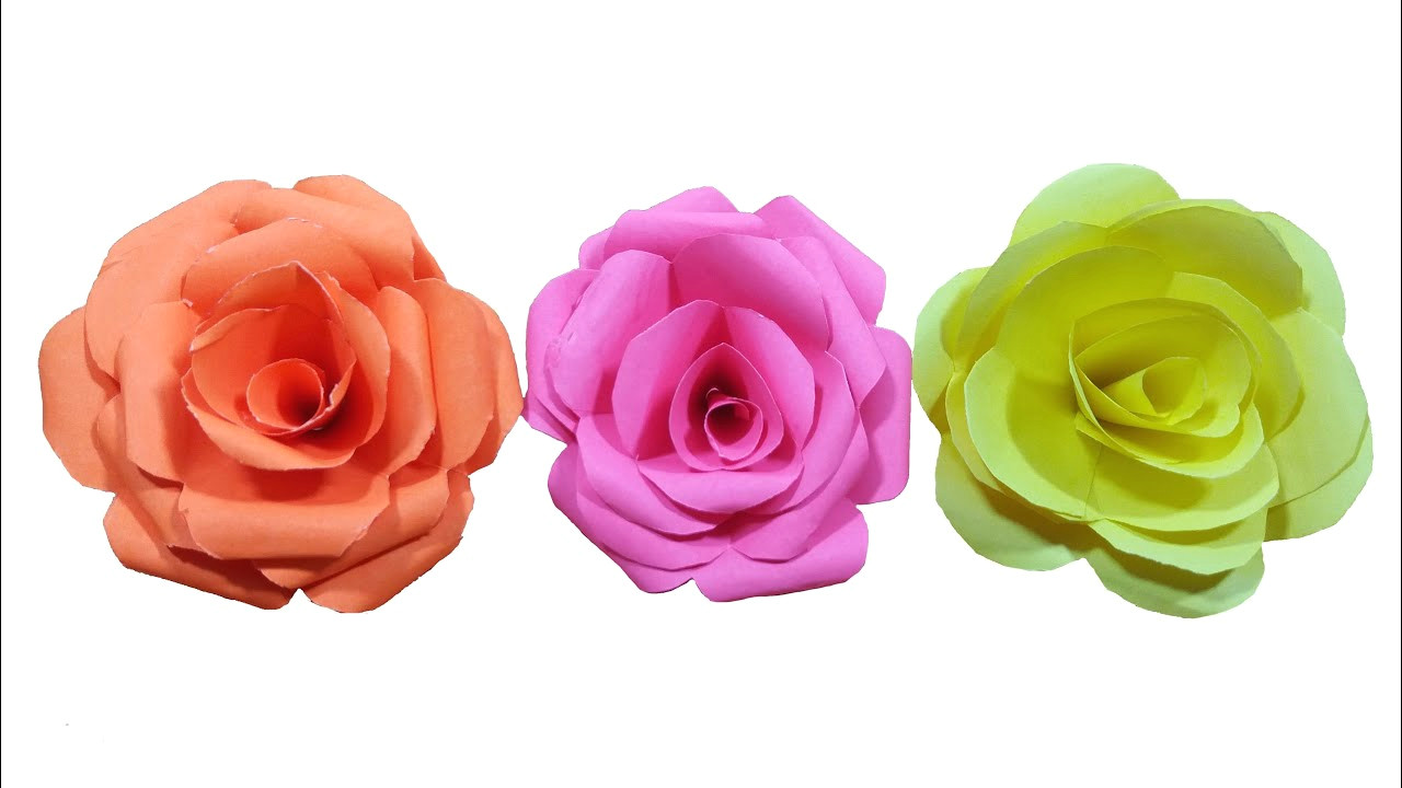 how to make paper rose flower very easy hd
