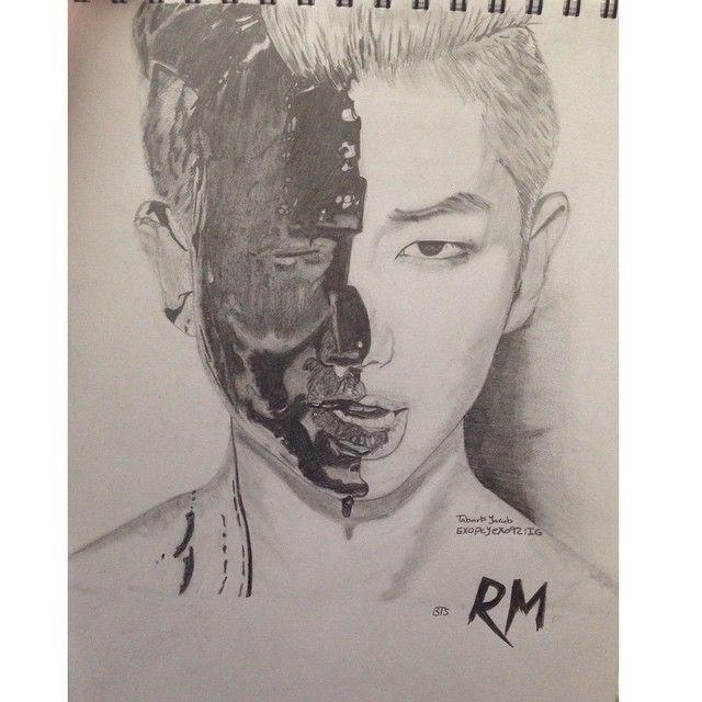 mulpix drawing bts rm rapmonster draw kpop bangtanboys v jin jimin suga jungkook jhope btsfanart btsart fanart
