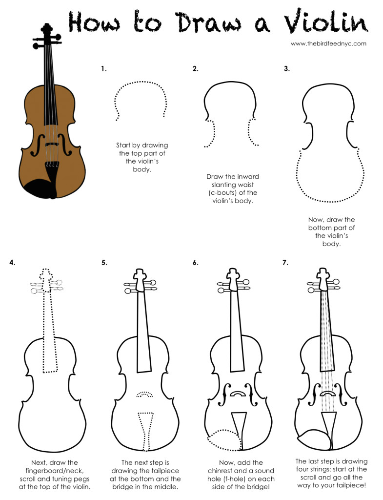 printable activity for kids how to draw a violin the bird feed nyc