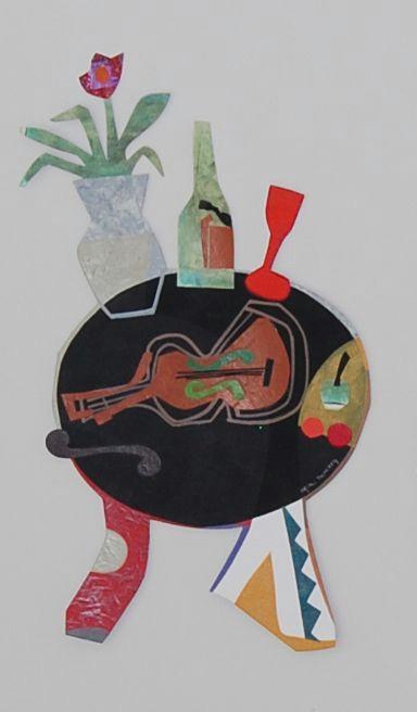 violin painting collage and cut paper arte art artwork regina menezes