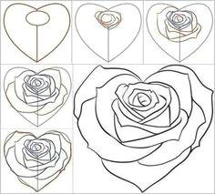 afbeeldingsresultaat voor rose drawing step by step