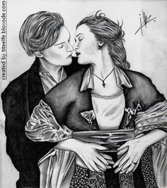 leonardo dicaprio and kate winslet in titanic all my drawings on