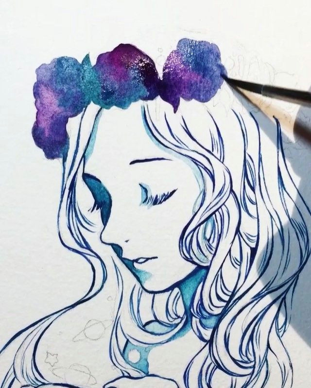 full video on my tumblr link in description more galaxy flower crown a i m using windsor newton designer gouache and finished it off with gold ink