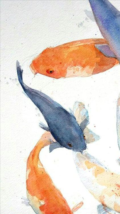 hand picked lockscreens koi tumblr watercolor art wallpaper prints painting