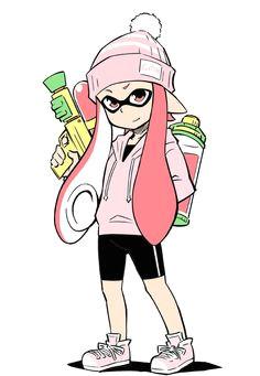 1girl anbe masahiro bike shorts hat hoodie inkling knit hat pink eyes pink hair shoes smile sneakers splatoon super soaker squid girl
