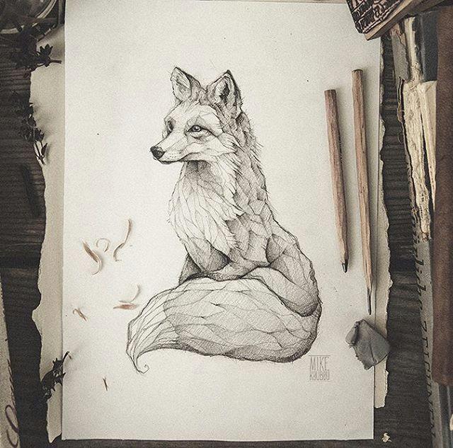pencil drawing illustration art retro vintage old fox red fox vulpes animal abstract