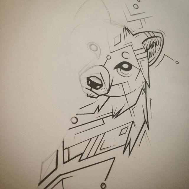wolf geometric tattoodesign drawing illustration