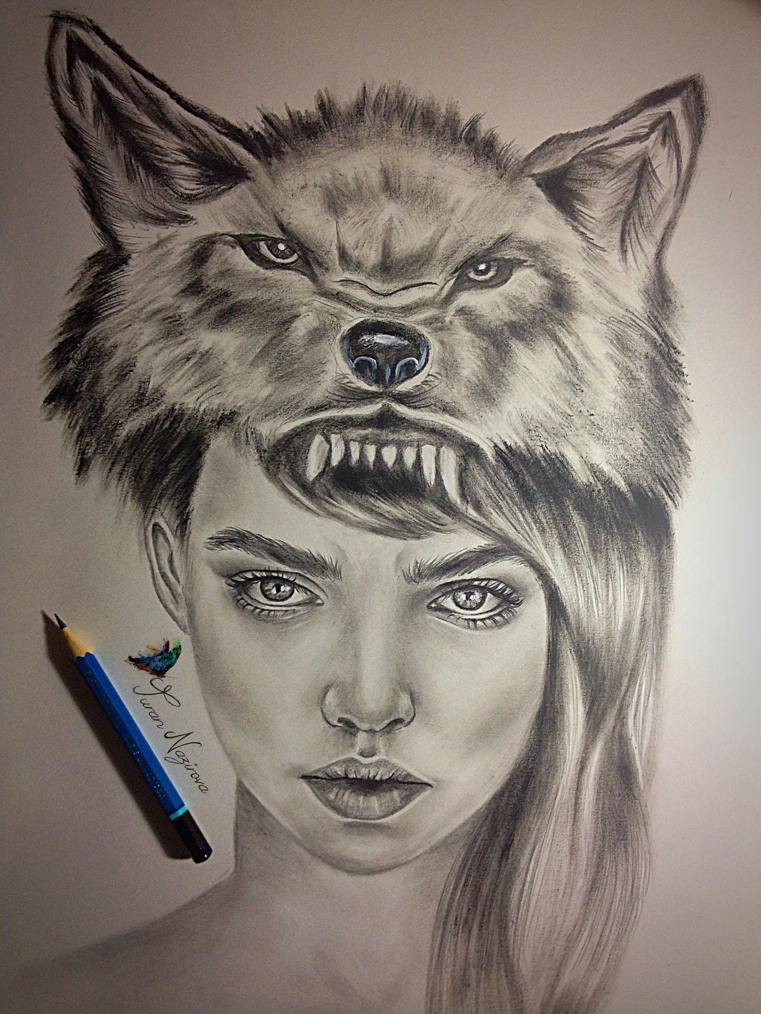 art drawing wolf surreal illustration