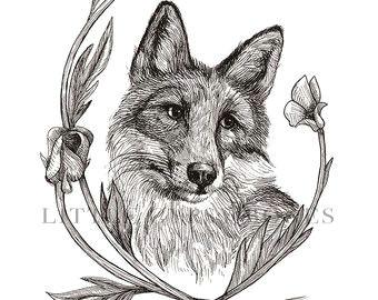 fox and buttercup 8x10 digital print red foxartwork pen and ink drawing buttercups flower original artwork botanical flower fox art