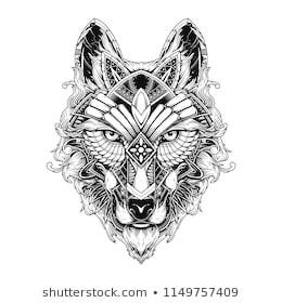 wolf doodle ornament