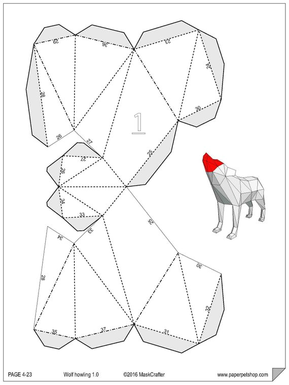 howling wolf papercraft template instant download