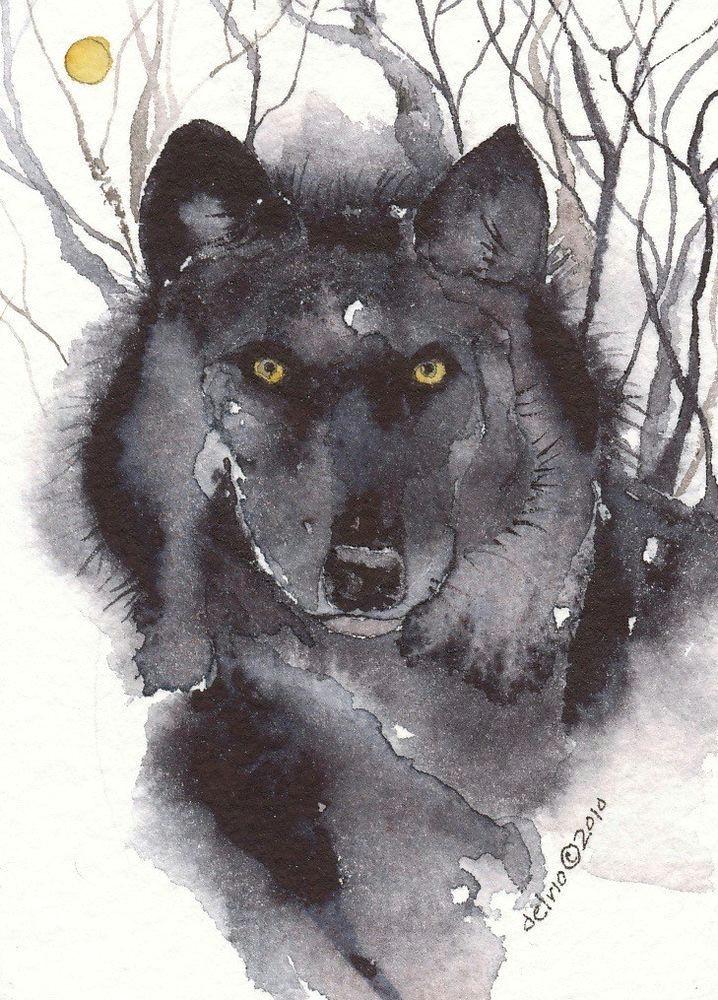 greeting card spiritual art watercolor spirit totem animal wolf lobo negros