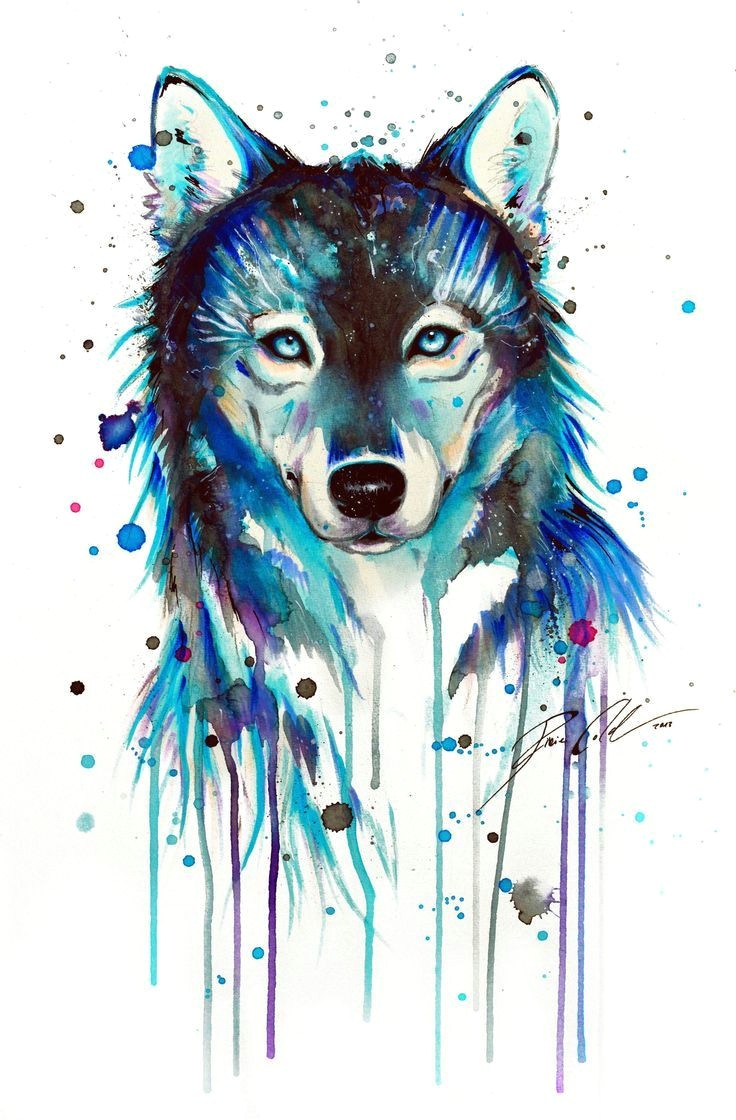 image result for watercolor wolf tattoo