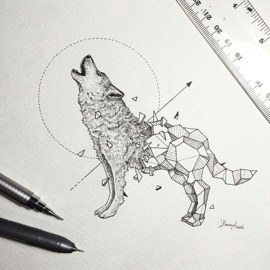 Wolf Nature Drawing Kerby Rosanes Filipino Artist with Geometric Beasts Wolf