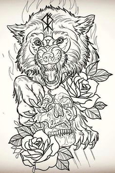neo traditional a image result for wolf drawing with detail tattooideassymbols wolf tattoos animal tattoos wolf