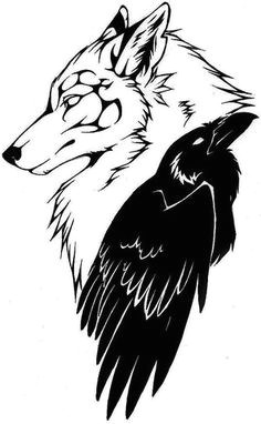wolf and crow tattoo instead of the wolf looking down i d want it