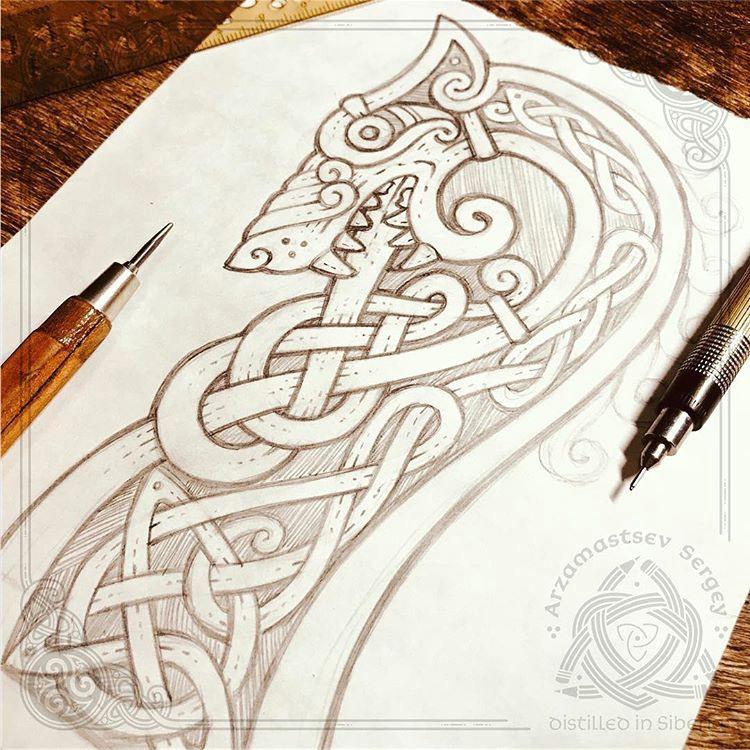 drakkar s head wolf fast pencil sketch workflow celtic tattoos viking tattoos