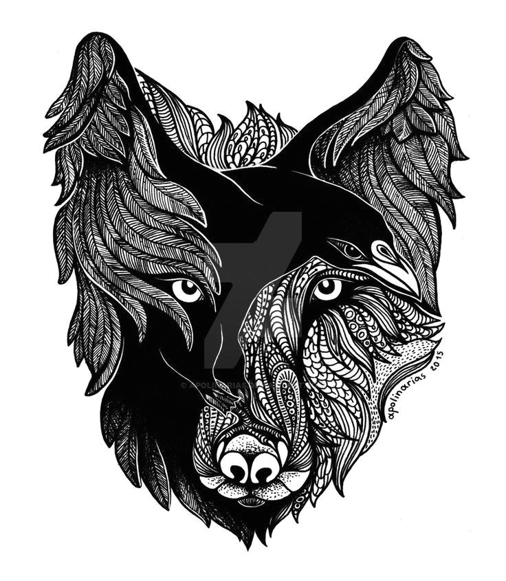 raven feathers wolf head tattoo design