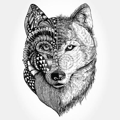 poster hand gezeichnet wolf kopf zentangle stilisiert