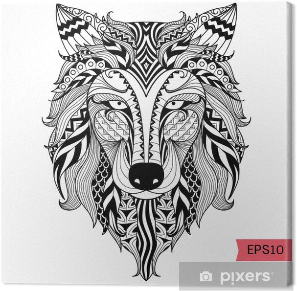 leinwandbild details zentangle wolf fur malvorlagen tatowierung t shirt design effekt und logo