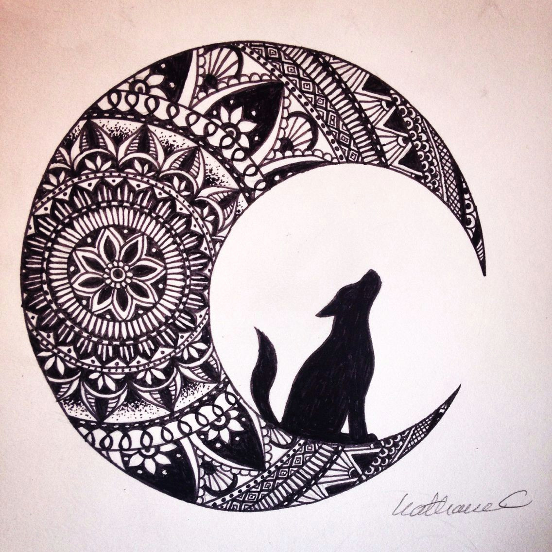 wolf in the moon black ink mandala drawing brusho