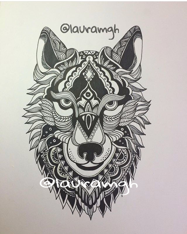 Wolf Zentangle Drawing Zentangle Wolf Zentangle Pinterest Wolf Tattoos Wolf and Tattoos