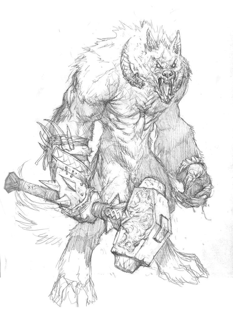 Wolfman Drawing Bocetos De Prescott Para Hombre Lobo El Apocalipsis 20 Aniversario