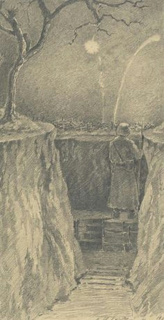 drawing of western front by painter alfred schonberner europeana 1914 1918 cc by der malerww1