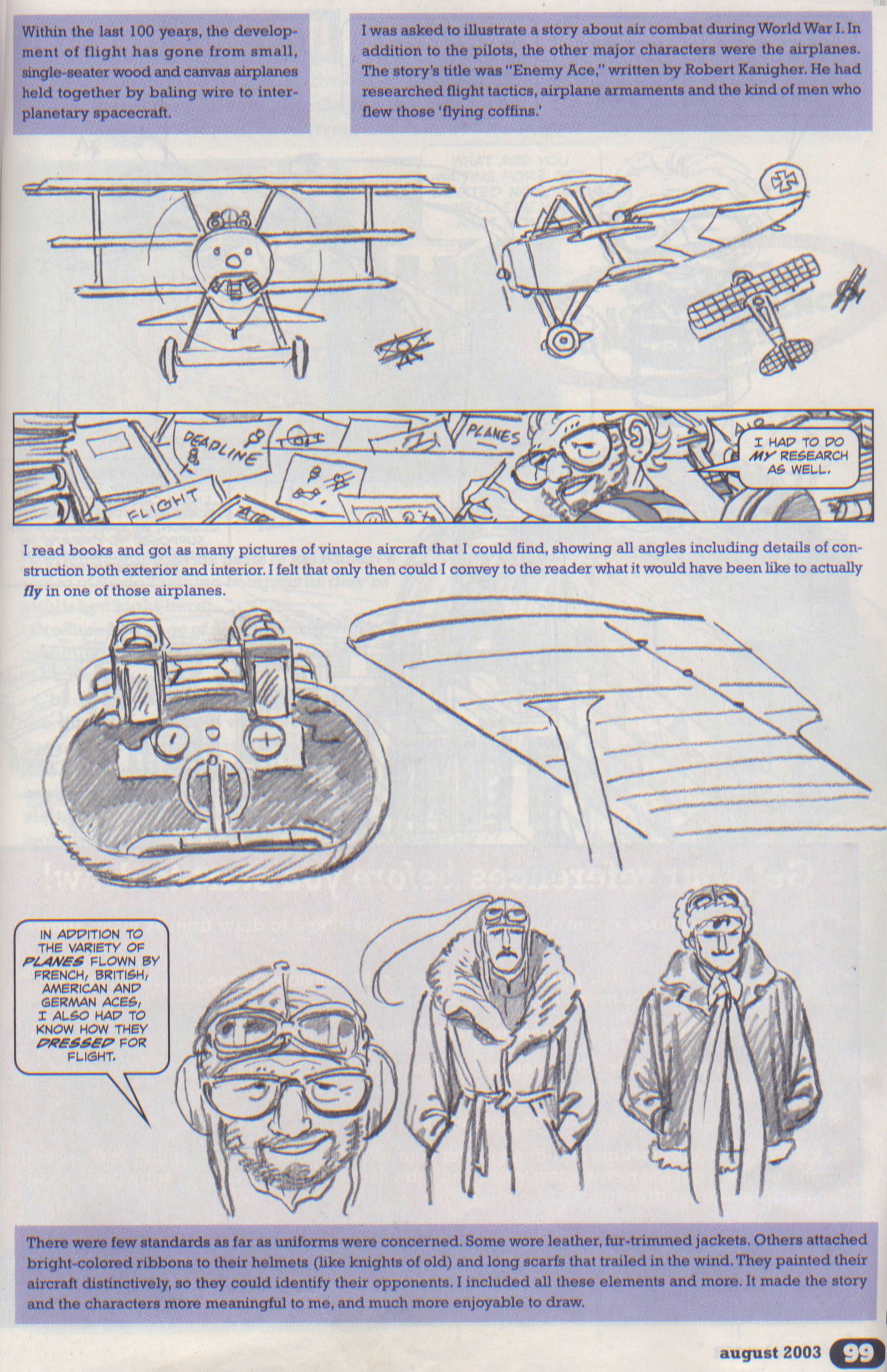 scan from wizard magazine 143 basic training part 2 of 6 joe kubert shows how to draw from reference p99