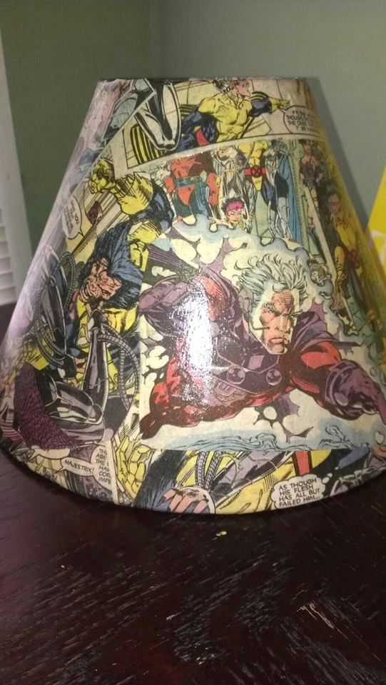 mod podge old lampshade and an x men comic book easy and awesome