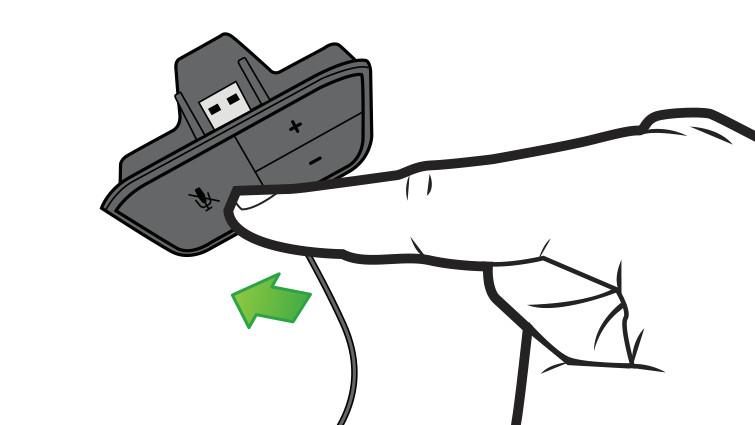 in der abbildung zeigen ein pfeil und ein finger auf die stumm taste der headset