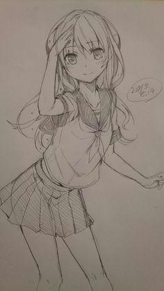 anime girl drawing anime art