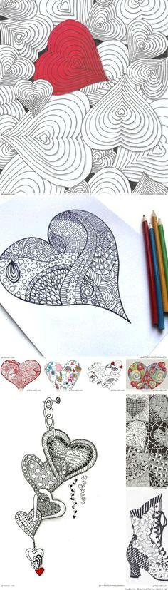 zentangle valentine s day ideas sgraffito valentinstag liebe zen stricheleien buchkunst hearts