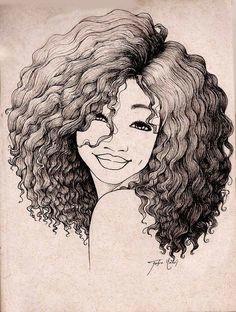 similiar drawing girl with curly natural hair keywords
