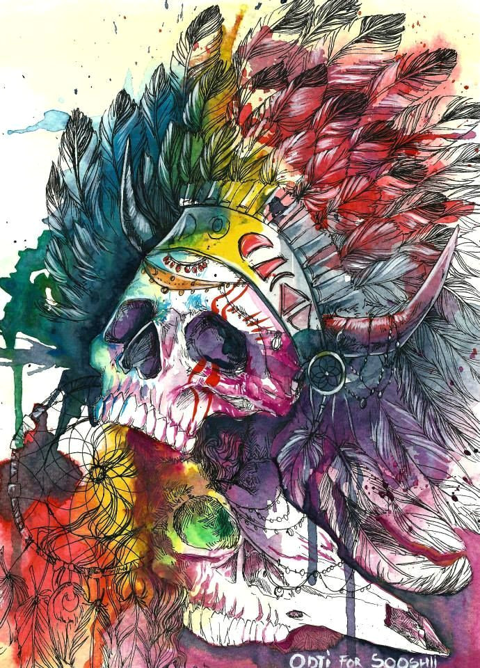 zombie divar skull watercolor illustrations by odji