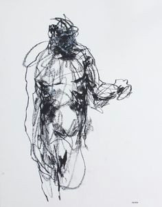 gestural male figure drawing 11 x 14 fine art drawing 163 charcoal and pastel on paper original drawing