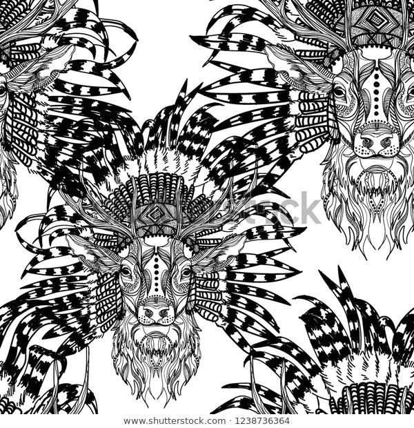 seamless pattern deer ethnic headdress 600w 1238736364 jpg