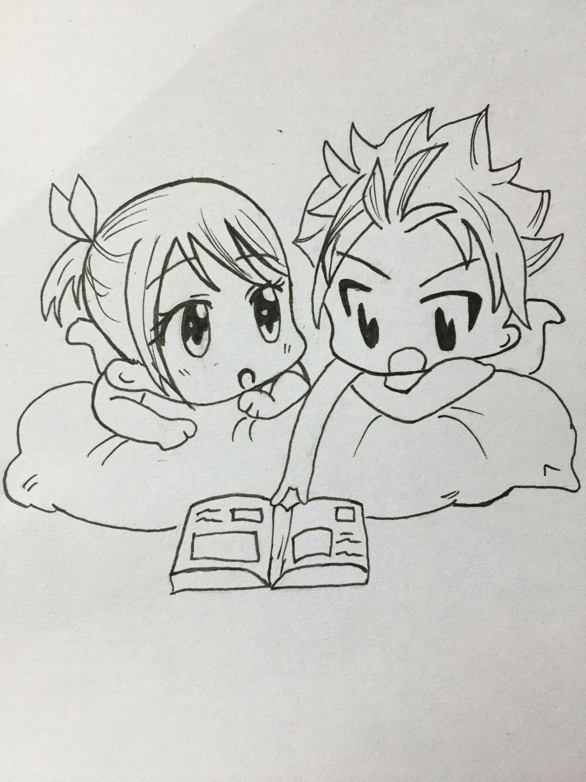 Anime Drawings Fairy Tail Nalu Chibi Fairytail Nalu Chibi Mangadrawing Manga