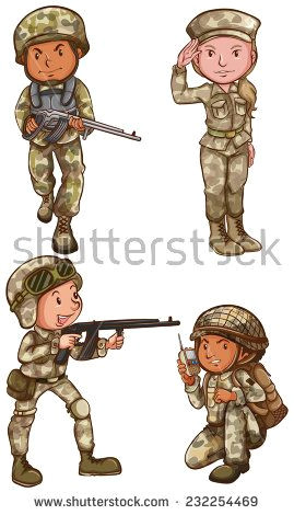 Army Drawing Easy A Simple Drawing Of the Four Brave soldiers On A White