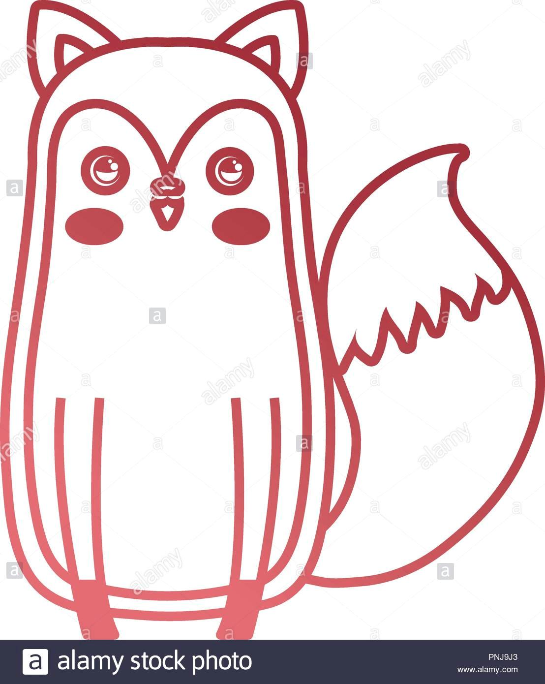 cute fox sitting animal baby drawing vector illustration neon pnj9j3 jpg