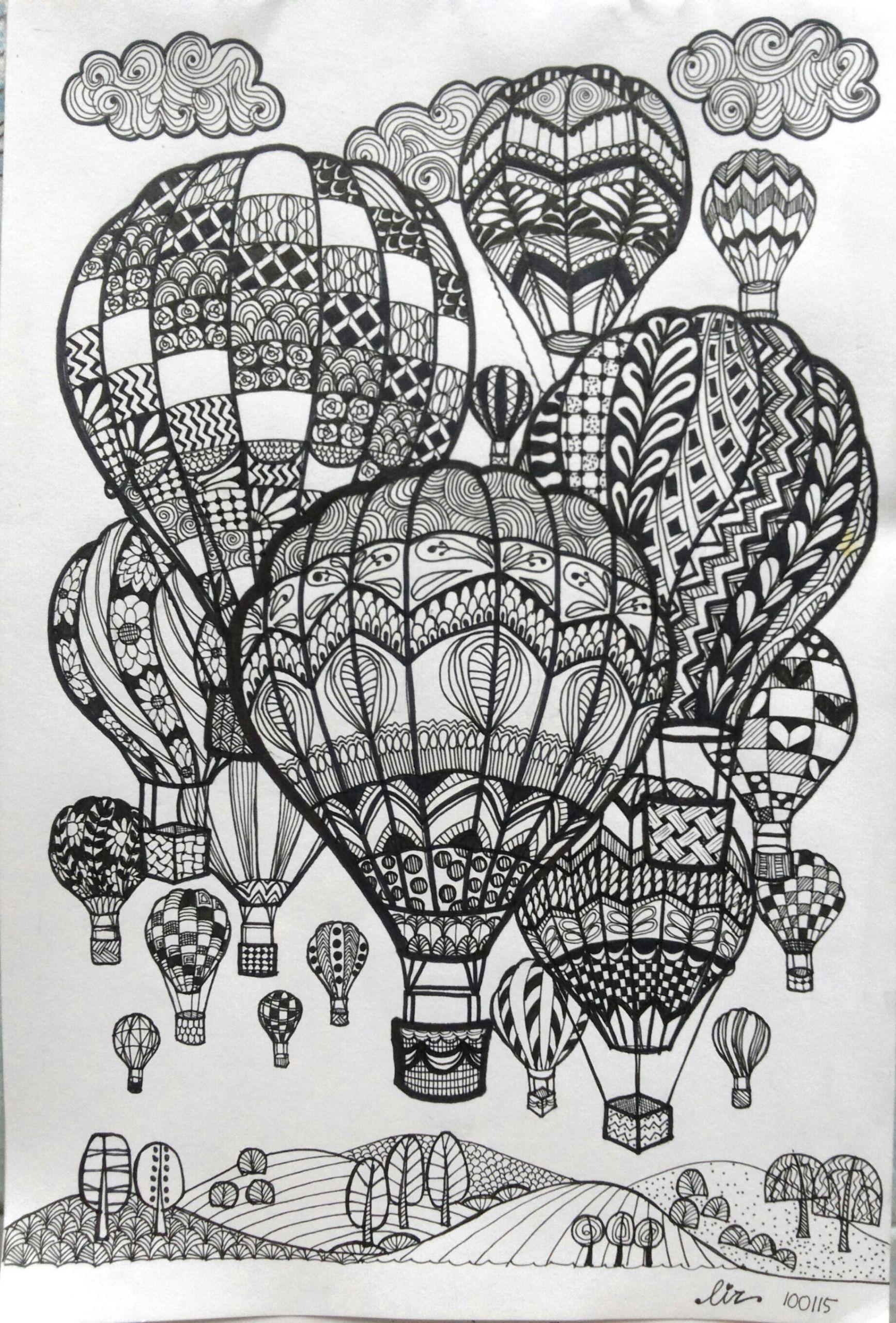 Balloon Drawing Easy Hot Air Balloons Doodle Art Doodle Art Mandala Sketch