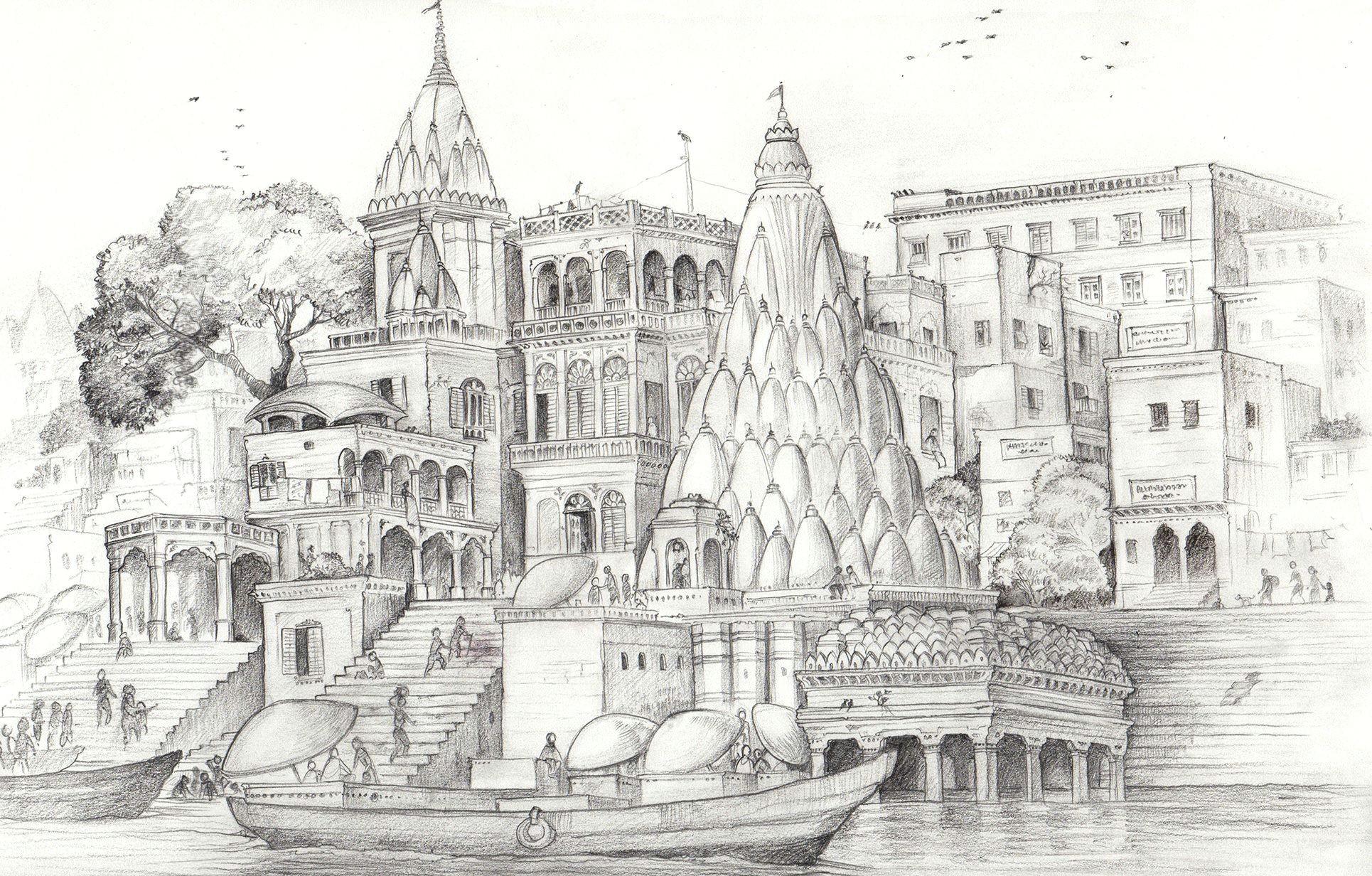 Bank Drawing Easy Varanasi Ghaats Banks Of the Ganges A Pencil Sketch