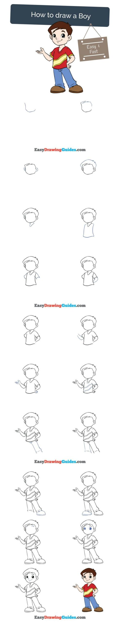 Boy Easy Drawing How to Draw A Boy Drawing Tutorials for Kids Easy