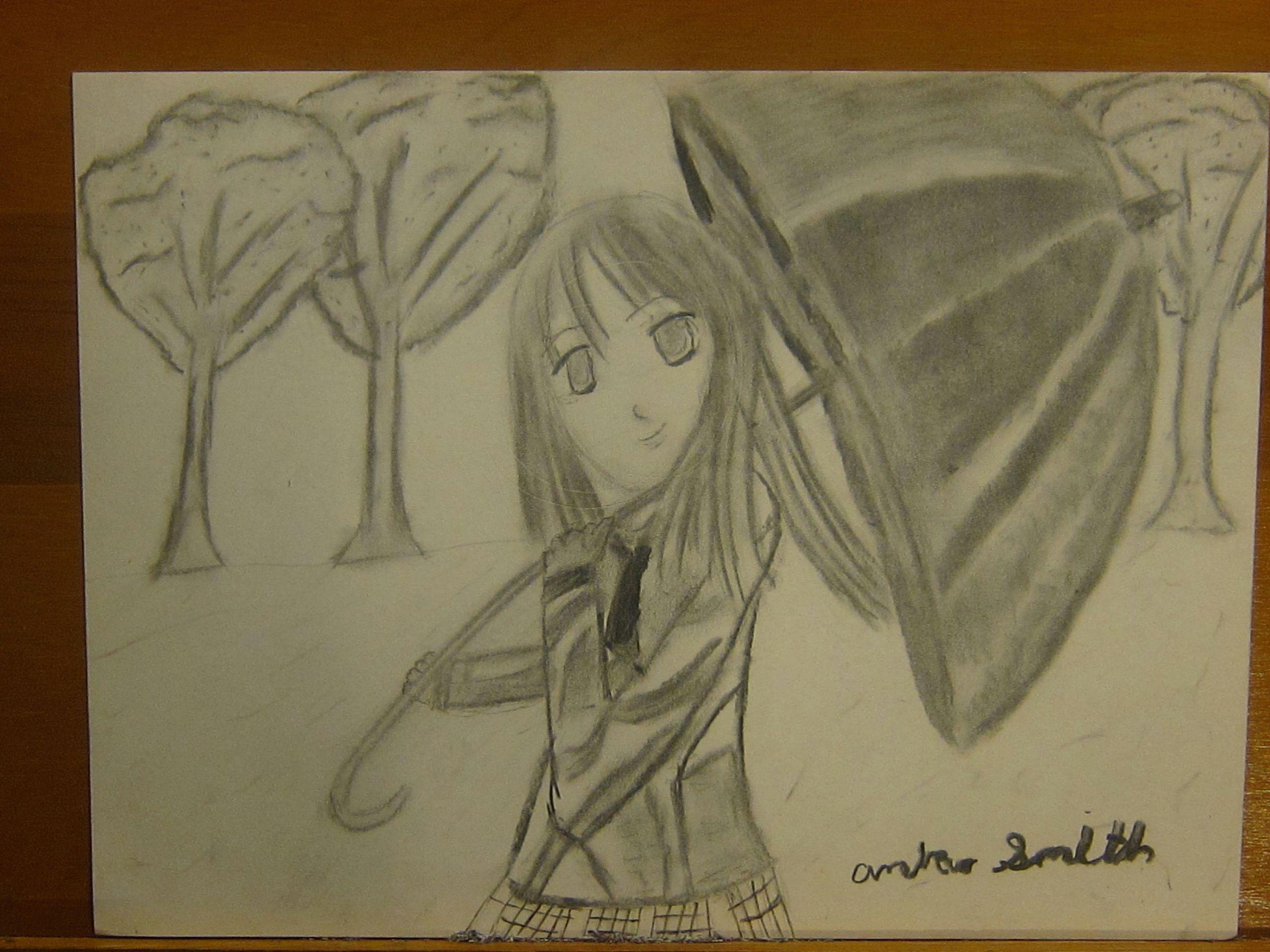 Charcoal Drawing Anime Charcoal Anime Girl Springtime Cherry Blossom Animenewsdaily