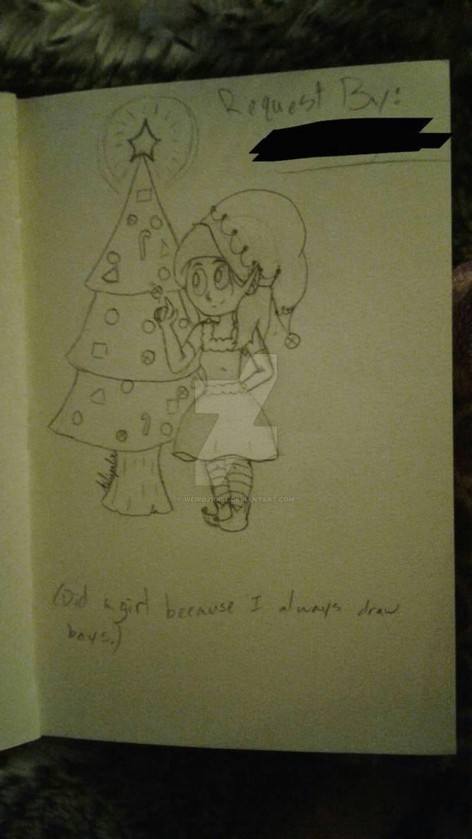 christmas elf drawing by weird21girl dbrbzd6 pre jpg