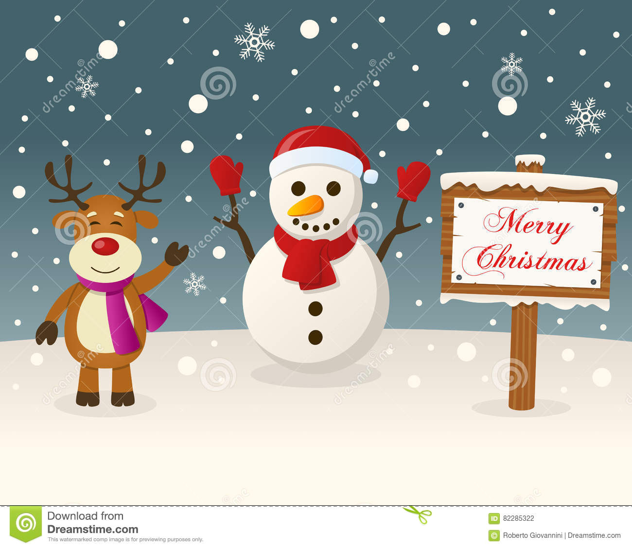 christmas sign snowman reindeer card cute happy smiling snowy scene merry wooden eps file 82285322 jpg