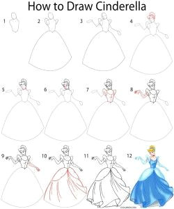 Cinderella Pictures Easy to Draw How to Draw Cinderella Step by Step Princess Drawings