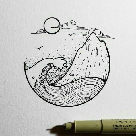 Circle Drawing Ideas Ocean and island Planner Doodles Sketches Drawings Art